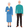 Happy grandfather and grandmother standing together. Old man and woman people in family. Vector illustration.