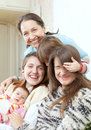 Happy grandmother with daughters and granddaughters Stock Photos