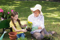 Happy grandmother with her granddaughter gardening on a sunny day Royalty Free Stock Photo
