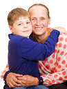 Happy grandmother hugging 7 years grandson Stock Images