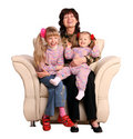Happy grandmother and two granddaughter. Royalty Free Stock Photography