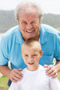 Happy grandpa grandson Stock Images