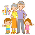 Happy Grandparents and Grandchildren Mascot. Home and Family Cha Royalty Free Stock Photo