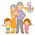Happy Grandparents and Grandchildren Mascot. Home and Family Cha Royalty Free Stock Images
