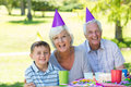 Happy grandparents with their grandson on a sunny day Royalty Free Stock Images
