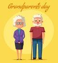 Happy grandparents. Vector cartoon illustration. Grandparents day