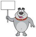 Happy Gray Bulldog Cartoon Mascot Character Holding A Blank Sign