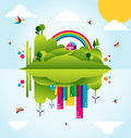 Happy green city spring time concept illustration Royalty Free Stock Photography