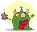 Happy green monster celebrates birthday with cake Royalty Free Stock Photo