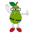 Happy green pear with glasses vector illustration eps on Stock Photography
