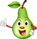 Happy green pear thumbs up Stock Photos
