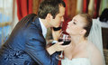 Happy groom and brid glass of vine bride newlywed couple in cafe lovely two Royalty Free Stock Images