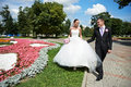 Happy groom and bride on wedding walk in park Royalty Free Stock Image