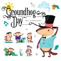Happy Groundhog Day set, cute marmot in cylinder holds flower - white snowdrop, prediction of weather, animal climbed Royalty Free Stock Photo
