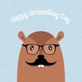 Happy Groundhog Day Vector Card