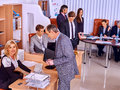 Happy group business people working in office. Royalty Free Stock Photo