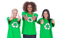 Happy group of enviromental activists giving thumbs up on white background Stock Image