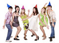 Happy group of people celebrate birthday. . Royalty Free Stock Photo