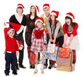 Happy group people in santa hat . Stock Photos