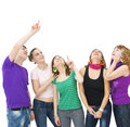 Happy group of teenagers Stock Photo