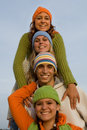 Happy group of teens or teenagers Royalty Free Stock Photo