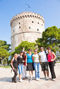 Happy group tourist in Greece Royalty Free Stock Photography