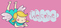 Happy guardian angel welcome it s a girl artistic illustrated card Stock Photo