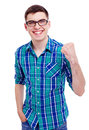 Happy guy with raised fist cheerful young man in black glasses isolated on white background mask included Royalty Free Stock Image