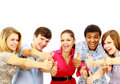 Happy guys and girls expressing Stock Images