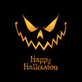 Happy halloween abstract pumpkin face and text on black background Royalty Free Stock Images