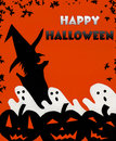 Happy Halloween background Pumpkins, Ghosts, Witch Royalty Free Stock Photography