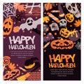 Happy Halloween banner set. Hand drawn doodle pumpkin, skull, witch hat, bones, candies, ghost, broom, cauldron.