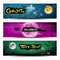 Happy halloween banners collections design background illustration Stock Photos