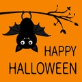 Happy Halloween. Bat hanging on tree branch. Cute cartoon baby character with open wing, ears, legs. Black silhouette. Forest Royalty Free Stock Photo