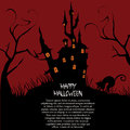 Happy halloween black silhouettes of a cat near a haunted castle with some text in a red background for Stock Images