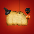 Happy halloween blank paper a illustration with an old witch hat a spider and jack o lantern balloons on a red background Royalty Free Stock Photography
