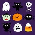 Happy Halloween. Candy corn, ghost spirit, pumpkin, cat, dracula, bat, skull bone, spider, mummy face. Cute cartoon kawaii funny Royalty Free Stock Photo