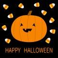 Happy Halloween. Candy corn, pumpkin with face. Cute cartoon kawaii funny baby character set. Flat design. Black background. Royalty Free Stock Photo