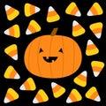 Happy Halloween. Candy corn, pumpkin with smiling face. Cute cartoon kawaii funny baby character set. Sweet triangle food. Flat Royalty Free Stock Photo