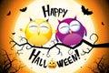 Happy Halloween card with cartoon owls