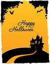 Happy halloween card with castle vector illustration of Royalty Free Stock Photography