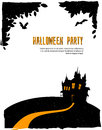 Happy halloween card with castle vector illustration of Stock Images
