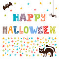 Happy Halloween card with cat, spider and bat Royalty Free Stock Photo