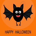 Happy Halloween card. Cute cartoon bat flying. Big moon. Animal character. Baby illustration collection. Flat design. Orange backg Royalty Free Stock Photo