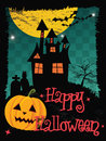 Happy Halloween card with haunted house Royalty Free Stock Photo