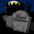 Happy halloween card illustration of title on a grave stone Stock Images