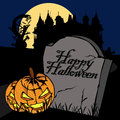 Happy halloween card illustration of title on a grave stone and a lantern Stock Photo