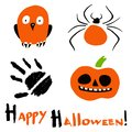 Happy Halloween card with a stylized owl, spider, pimpkin and handprints