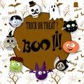 Happy Halloween card with vampire, mummy, skull, bat, pumpkin and zombie
