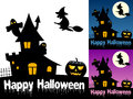 Happy halloween cards greeting card in three different versions on white blue and violet background with a haunted house ghosts Royalty Free Stock Image